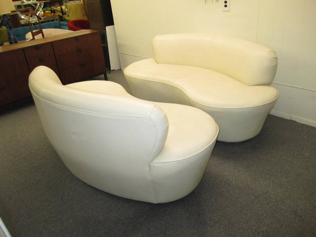Pair Kidney Shaped Kagan Inspired Putty Leather Sofa
