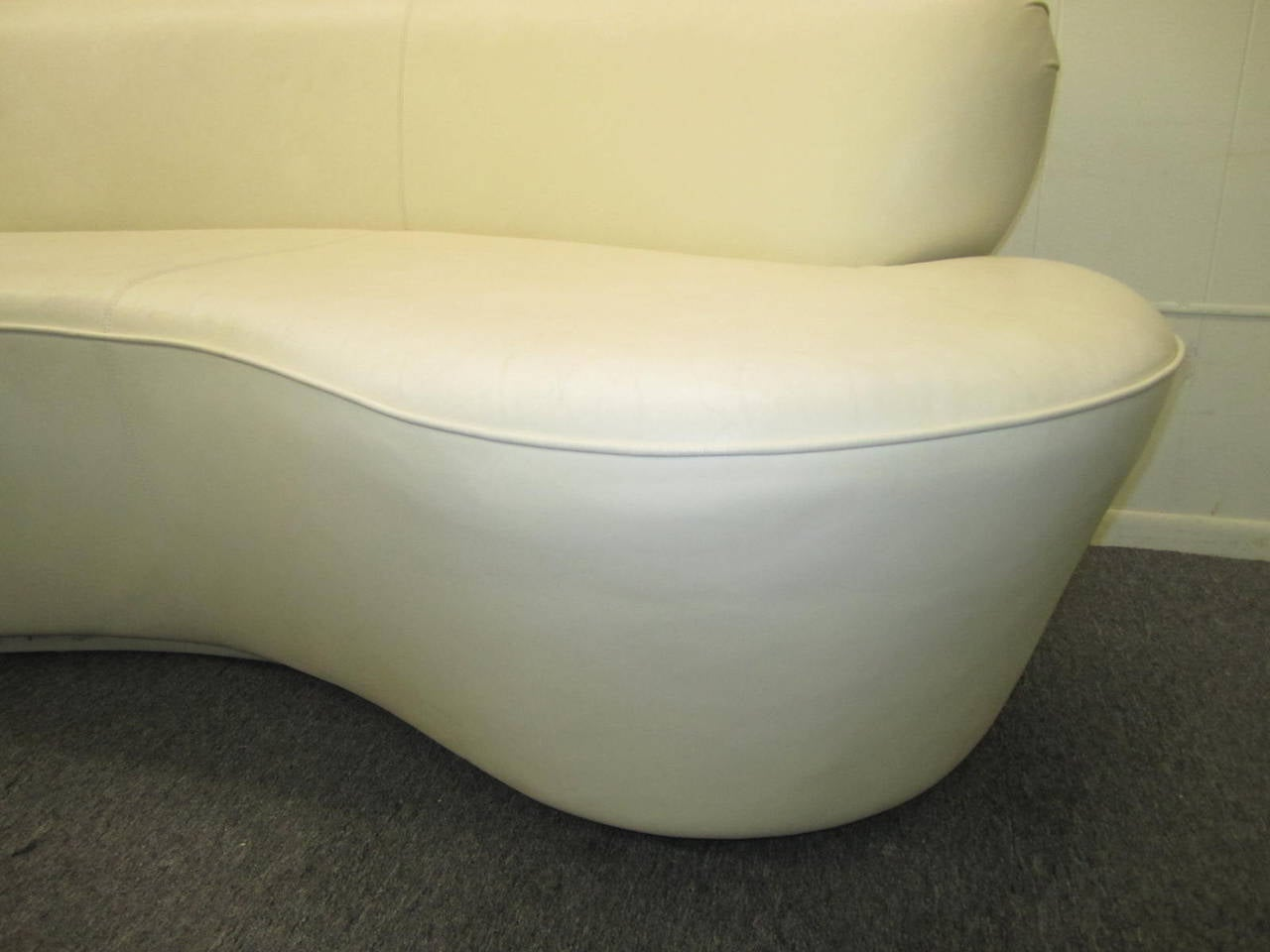 Pair Kidney Shaped Kagan Inspired Putty Leather Sofa Loveseat Mid-century  Modern 3