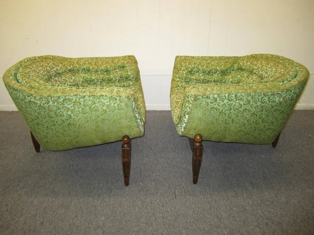 Lovely Pair Of Mid Century Modern Tufted 3 Legged Lounge