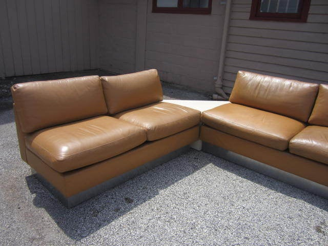 American Milo Baughman Leather Four-Piece Sectional Sofa Mid-Century For Sale