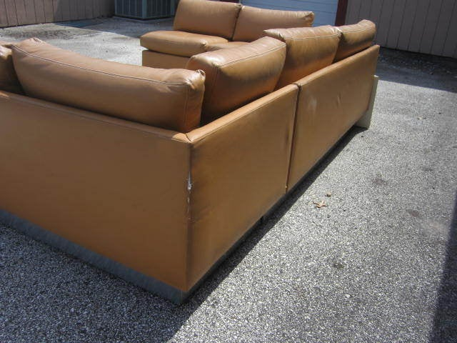 Late 20th Century Milo Baughman Leather Four-Piece Sectional Sofa Mid-Century For Sale