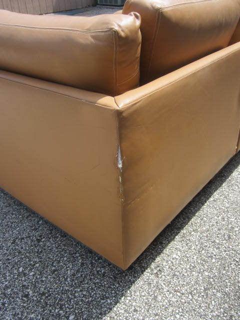 Chrome Milo Baughman Leather Four-Piece Sectional Sofa Mid-Century For Sale