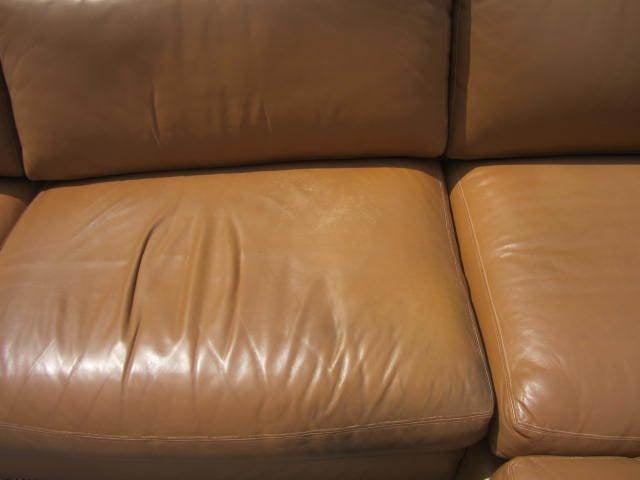 Milo Baughman Leather Four-Piece Sectional Sofa Mid-Century For Sale 2
