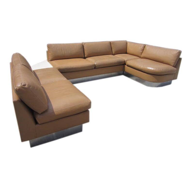 Milo Baughman Leather Four-Piece Sectional Sofa Mid-Century For Sale