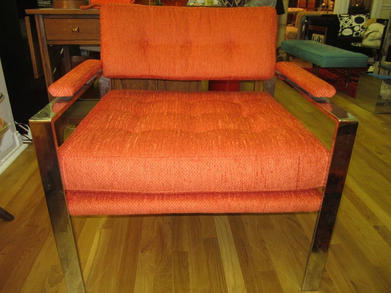 American Unusual Milo Baughman Orange Chrome Lounge Chair Mid-Century Modern For Sale