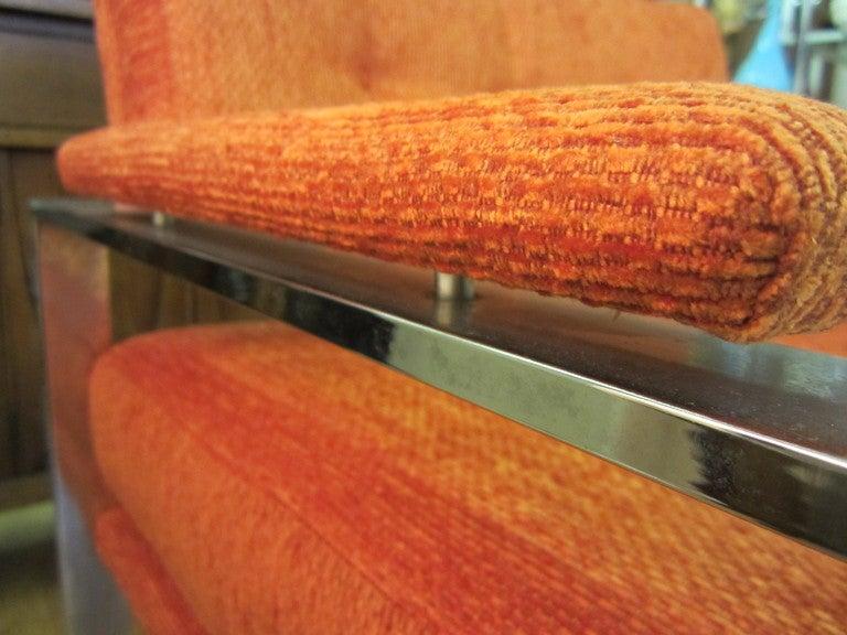 Unusual Milo Baughman Orange Chrome Lounge Chair Mid-Century Modern For Sale 1