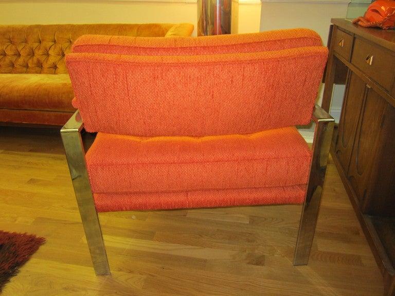 Unusual Milo Baughman Orange Chrome Lounge Chair Mid-Century Modern For Sale 4