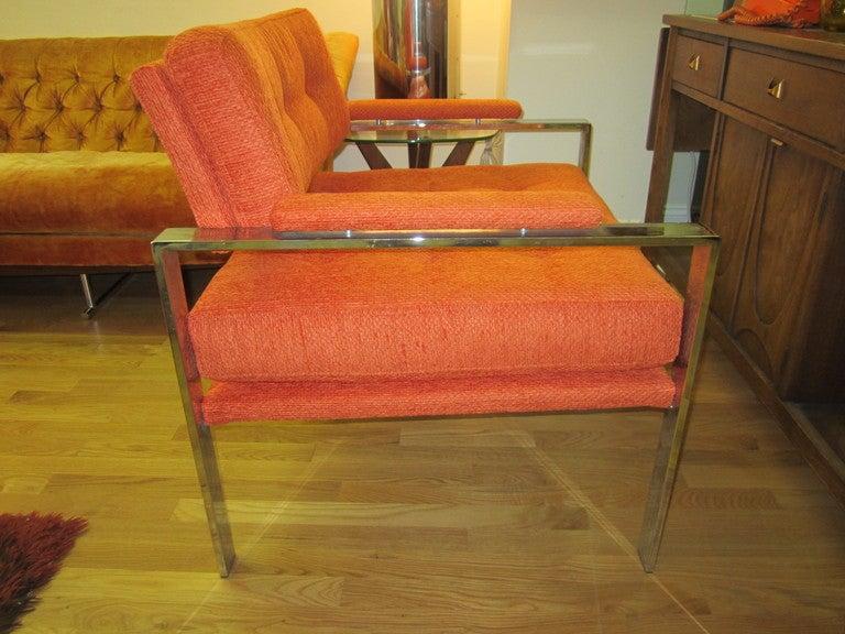 Unusual Milo Baughman Orange Chrome Lounge Chair Mid-Century Modern For Sale 5