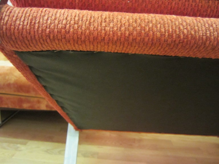 Unusual Milo Baughman Orange Chrome Lounge Chair Mid-Century Modern For Sale 3