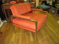 Unusual Orange Chrome Lounge Chair Mid-Century Modern