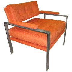 Unusual Milo Baughman Orange Chrome Lounge Chair Mid-Century Modern