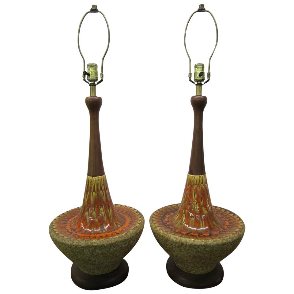 Gorgeous Pair of Orange Drip Glaze Danish Modern Lamps