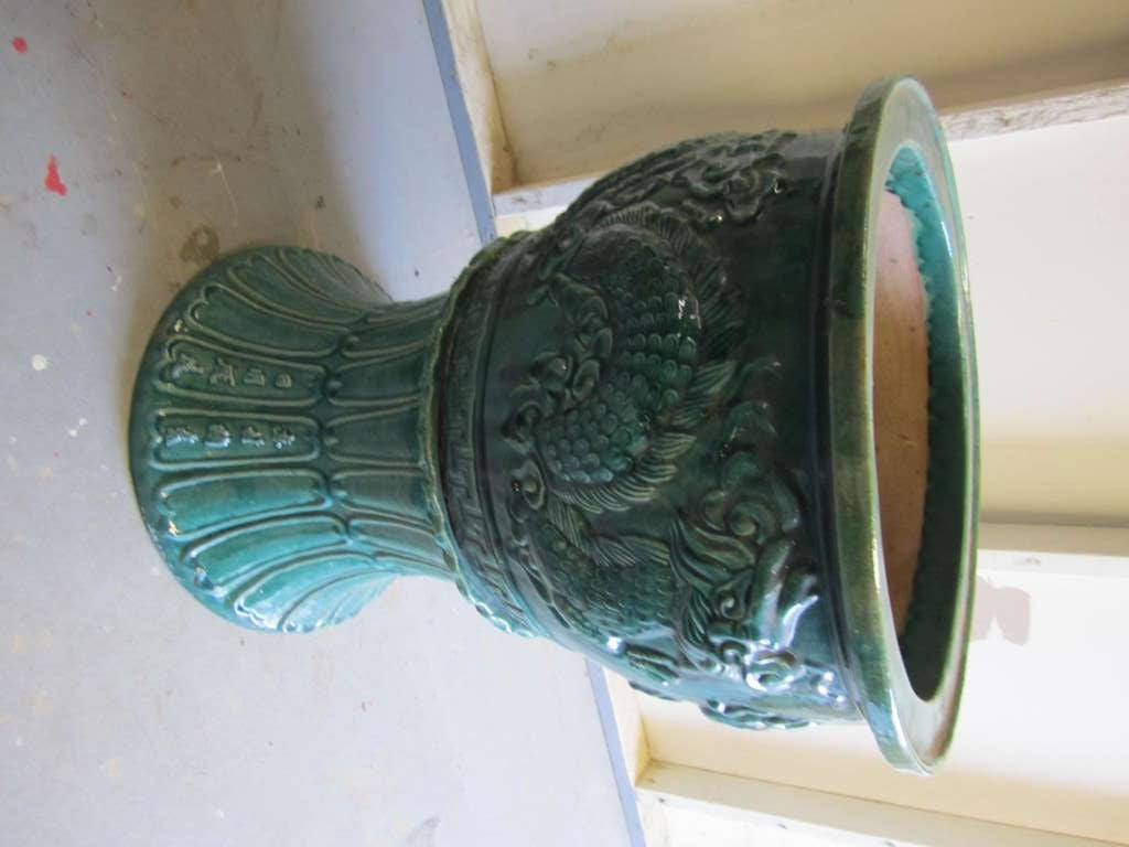 Amazing and Large Chinese Green Glazed Terra Cotta Urn and Pedestal 5