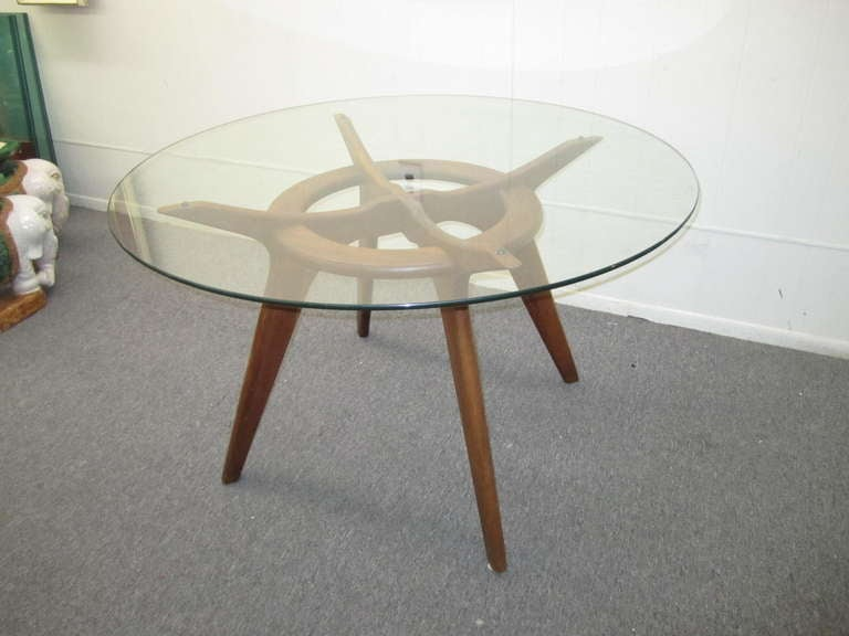 gorgeous adrian pearsall round walnut dining table mid
