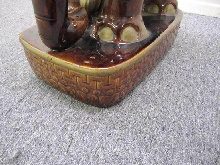 Glazed Whimsical Pair of Brown Terra Cotta Elephant Garden Seats Tables Mid-century Modern For Sale