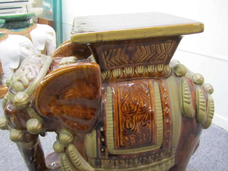 Mid-20th Century Whimsical Pair of Brown Terra Cotta Elephant Garden Seats Tables Mid-century Modern For Sale