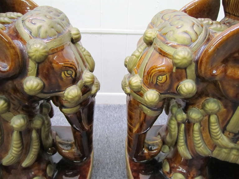 Whimsical and fun pair of vintage terra-cotta elephant garden seats/tables.  Wow-these handsome devils are sure to please.  You can use these in a variety of settings and styles-patio to living room-classical to modern.