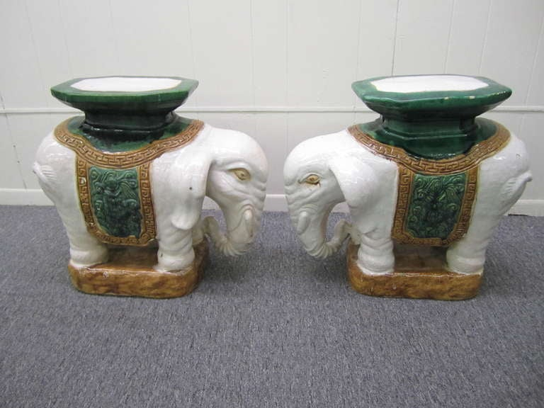 Whimsical Pair of Brown Terra Cotta Elephant Garden Seats Tables Mid-century Modern For Sale 2