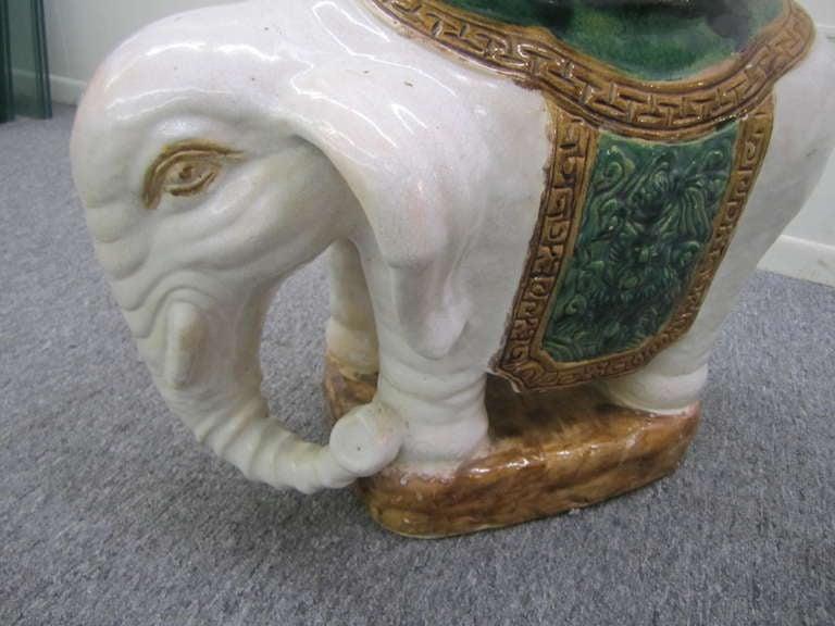 Fabulous Pair Of Terra Cotta Glazed Elephant Garden Stools