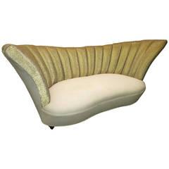 Sparkling Hollywood Regency Column Tufted Loveseat  Sofa