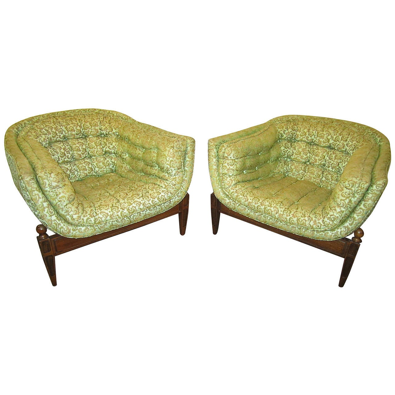 Lovely pair of mid century modern tufted 3 legged lounge chair for sale