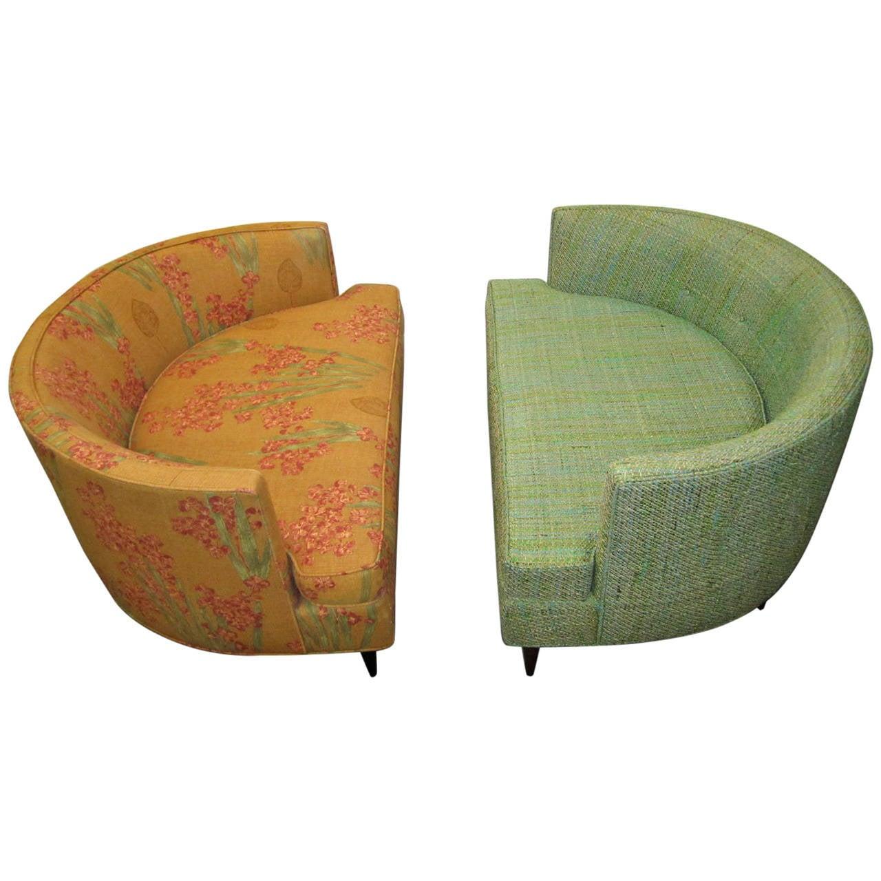 Pair of Unusual Wide Semi Circle Milo Baughman style Chairs Ottoman Mid centu