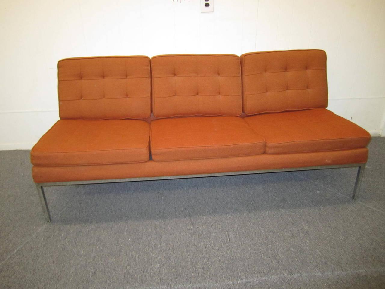 gorgeous milo baughman signed armless sofa midcentury modern 2