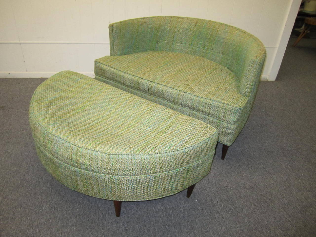 American Pair Of Unusual Wide Semi Circle Milo Baughman Style Chairs  Ottoman Mid Century For