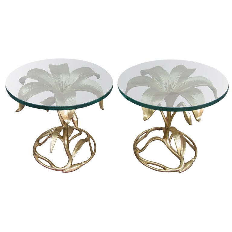 Arthur Court Style Amazing Pair of Gilded Gold Lily Tables Regency Modern