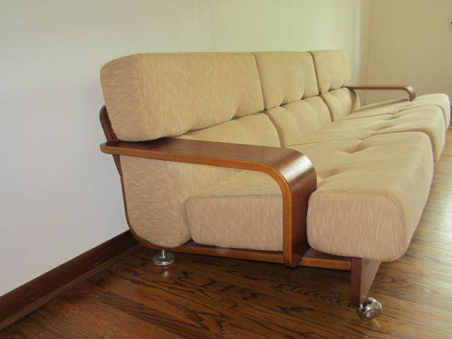 Outstanding and rare N. Eilersen bentwood teak three-seat sofa. Actually this piece is very rare and hard to come by. There are very few images to refer to but I bought this from the original owner who knew quite a bit about it. She bought the set