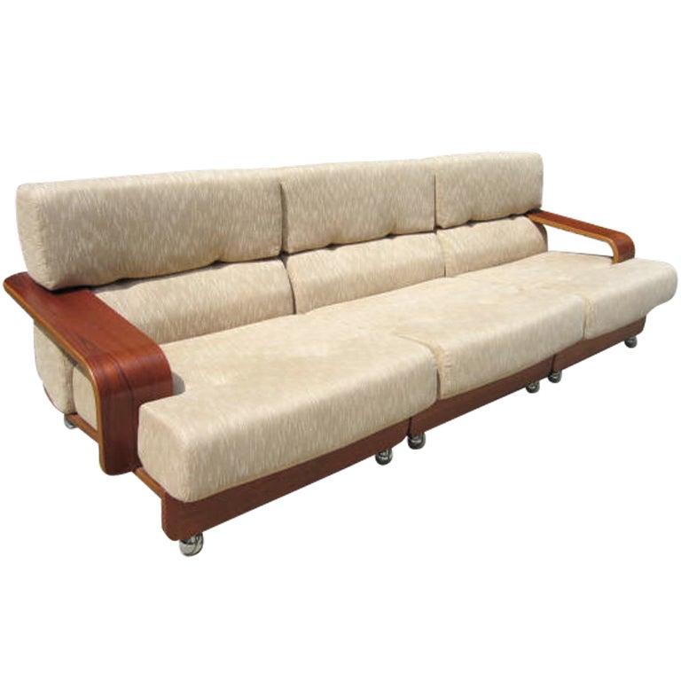 Rare N. Eilersen Danish Modern Teak Three-Seat Sofa Mid-Century For Sale