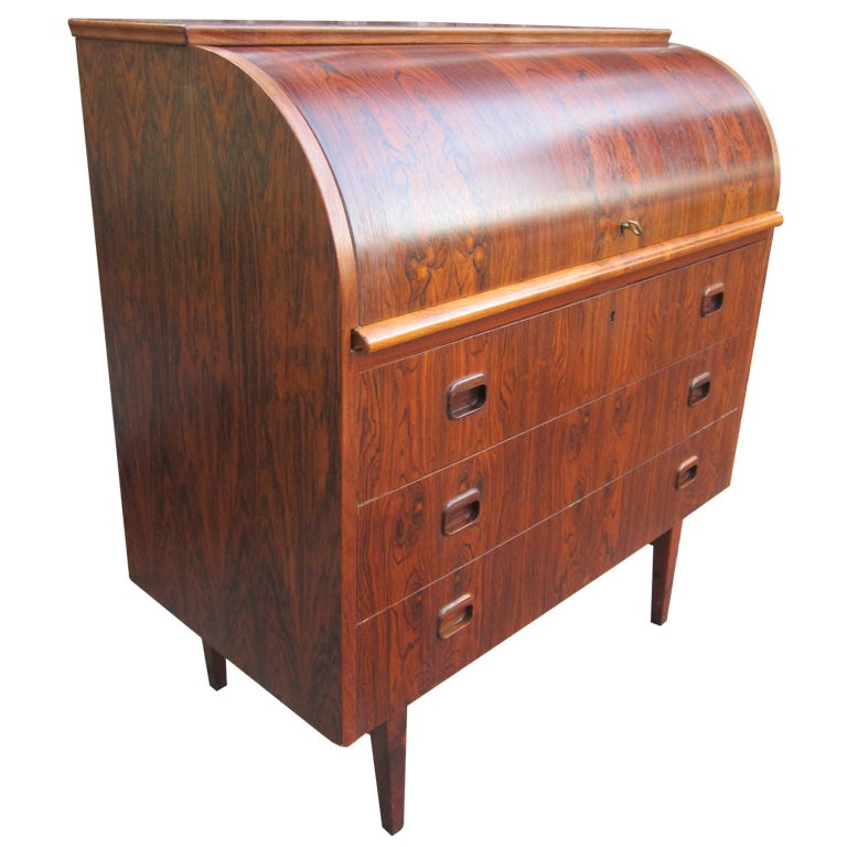 Danish Rosewood Roll Top Desk Signed Mid Century Modern At