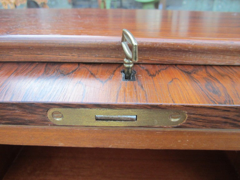 Mid-20th Century Danish Rosewood Roll Top Desk Signed Mid-century Modern For Sale