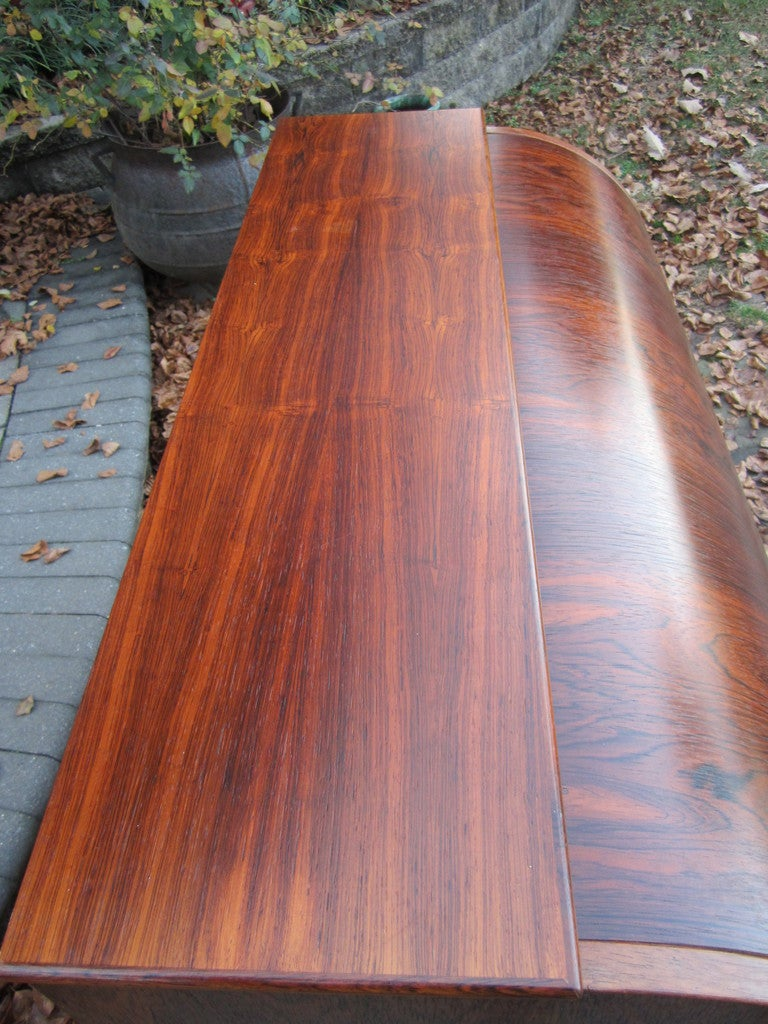 Danish Rosewood Roll Top Desk Signed Mid-century Modern For Sale 1