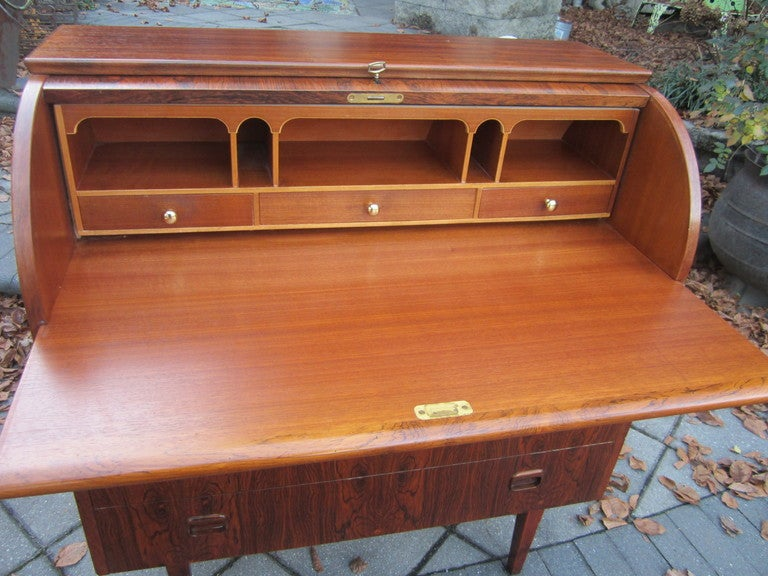 Danish Rosewood Roll Top Desk Signed Mid-century Modern For Sale 3