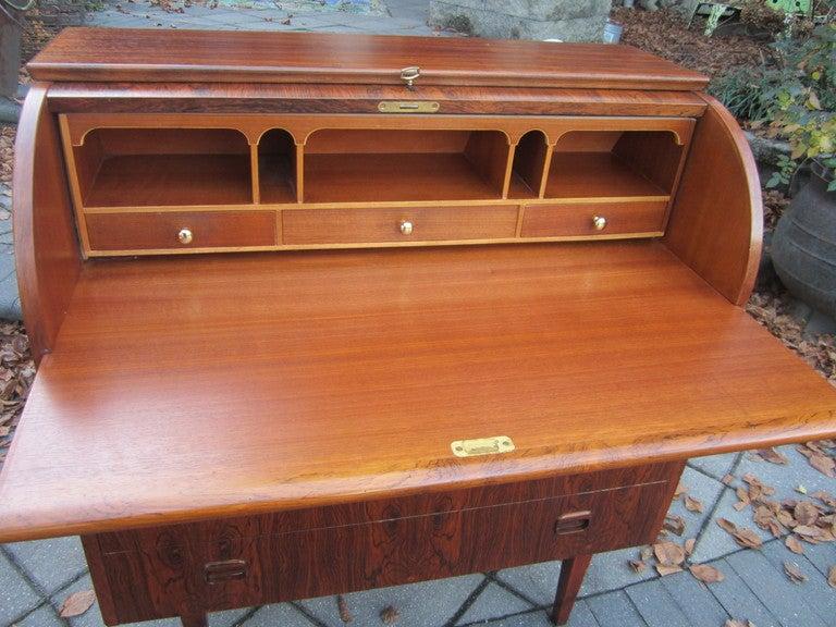 Danish Rosewood Roll Top Desk Signed Mid-century Modern 8