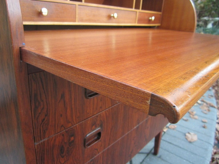 Danish Rosewood Roll Top Desk Signed Mid-century Modern For Sale 5