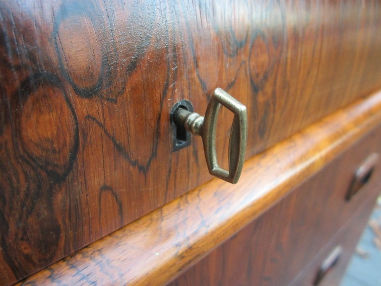 Danish Rosewood Roll Top Desk Signed Mid-century Modern For Sale 4