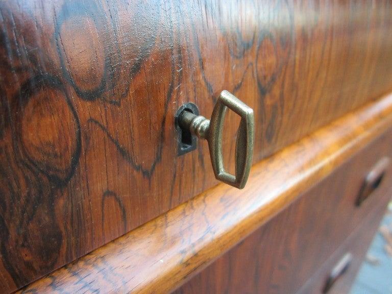 Danish Rosewood Roll Top Desk Signed Mid-century Modern 9