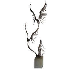 Fabulous Curtis Jere Table Sculpture Flying Eagles Mid-century Modern