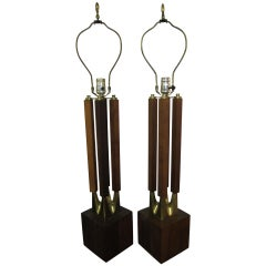 Handsome Pair of Solid Walnut Columnar Laurel Lamps Mid-century Modern