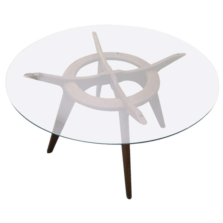 Gorgeous Adrian Pearsall Round Walnut Dining Table Mid Century Modern