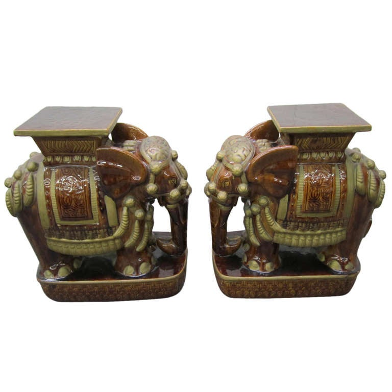 Whimsical Pair of Brown Terra Cotta Elephant Garden Seats Tables Mid-century Modern For Sale