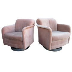Pair Of Milo Baughman Swivel Rocker Chromed Base Club Chairs
