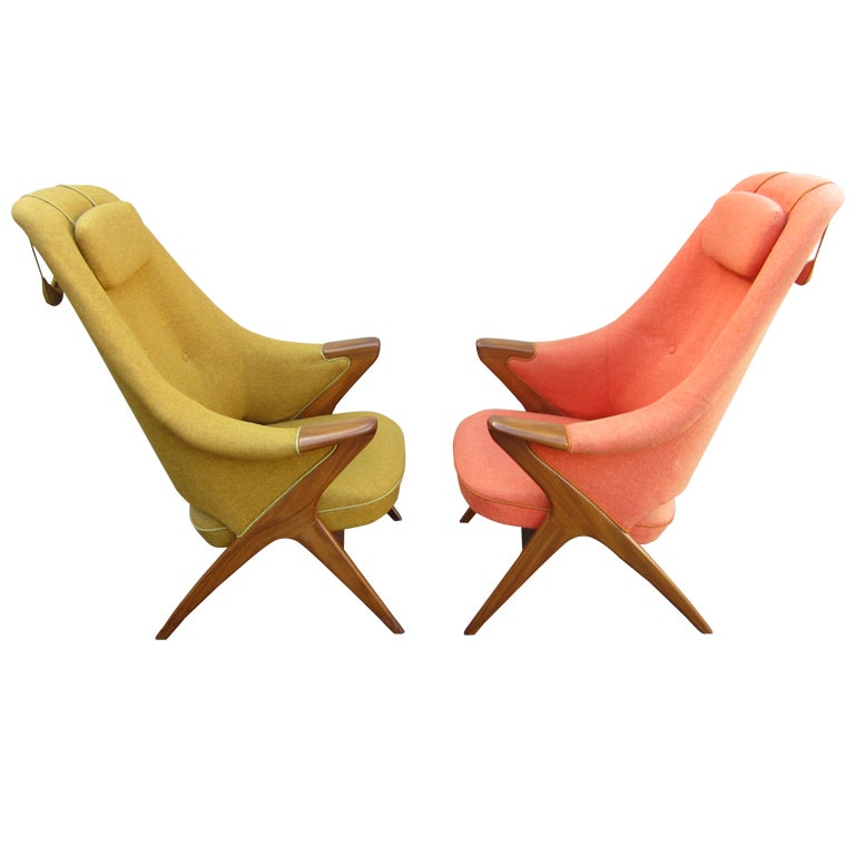 Pair Danish Modern Papa Bear Style Teak Lounge Chairs
