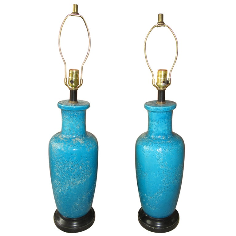 Fabulous Pair Lava Crackle Glaze Turquoise Lamps Mid-century Bitossi Modern