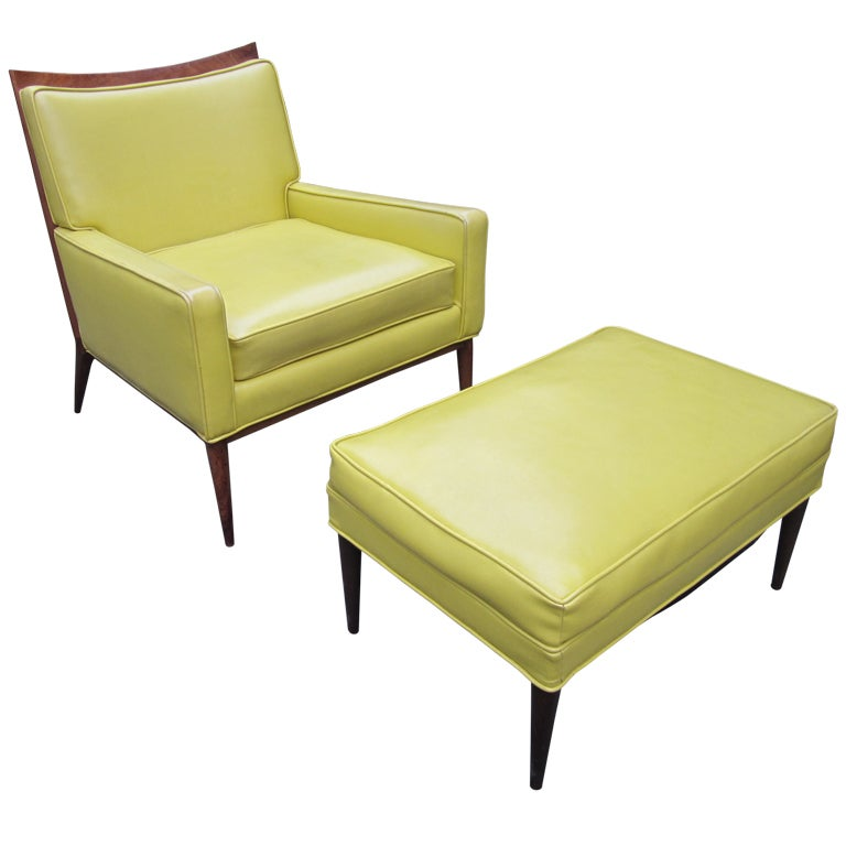 Paul Mccobb Yellow Faux Leather Lounge Chair And Ottoman Mid century Danish Mod