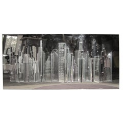 Fabulous Harvard Reflections Mirror 3D Sculpture Of New York City Mid-century