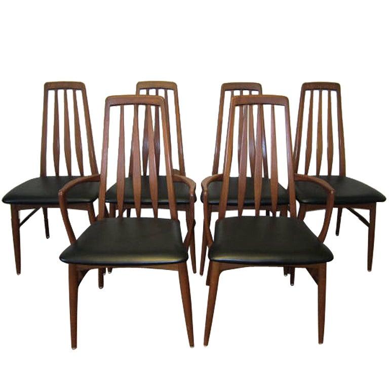6 Danish Teak Eva Dining Chair Koefoeds Hornslet At 1stdibs