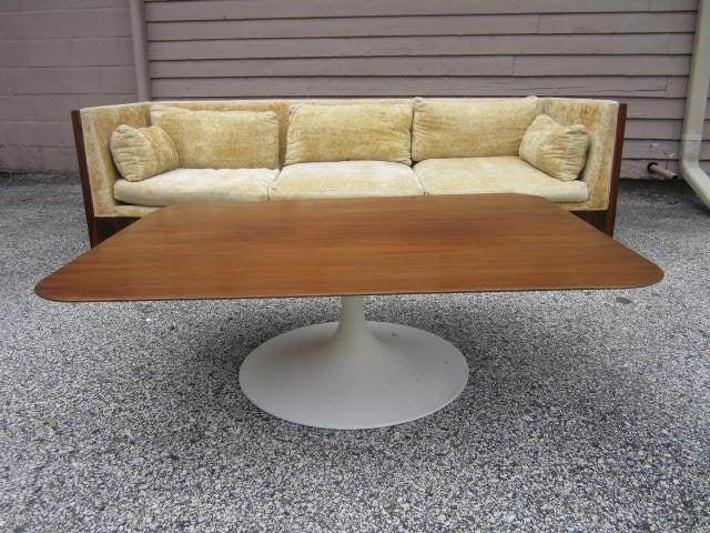 Lovely Walnut Rectangular Top Coffee Table Saarinen Style